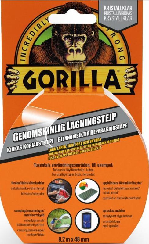 Välkända GORILLA TEJP TRANSPARENT 48MM X 8,2M   Stockholms MC Varuhus GG-15